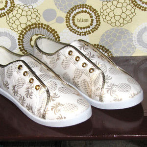 NWT Avon gold metallic pineapple slip-on sneakers